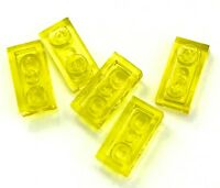 Lego 5 New Trans-Yellow Plate 1 x 2 Dot Transparent Pieces