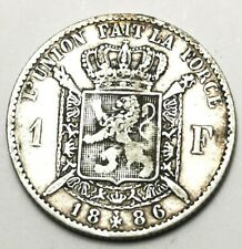 Belgium 1886 1 Franc VF Silver.835 Leopold II Coin French Text