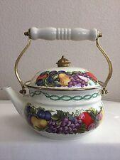 "Vintage Cornucopia Enamel Tea Kettle Tea Pot White Fruit Decor 7"" High Taiwan"