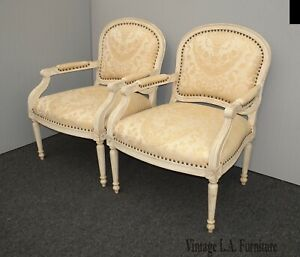 Pair Vintage French Country Off White Bergere Accent Chairs w Decorative Nails