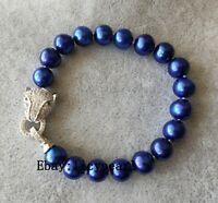 Charme Armband, echt 10-11mm  blau Süßwasser Perlen armband