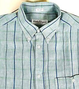 Salvatore Ferragamo Men's 100% Linen Button Up Casual Shirt Blue Check Medium