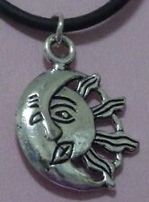 New Antique Silver Sun Moon Pendant on a Rubber Necklace