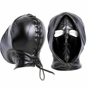 PU Leather Slave Restraint Head Mask Fetish Hood Zipper BDSM Sexy Adult Bondage