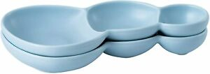 """Bruntmor Porcelain 3 Compartment Serving tray Set of 2 Triplet Bowls 10.5"""" Blue"""