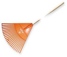 Laubbesen 50 cm orange inkl. Holzstiel Laubrechen Forke Kunststoff