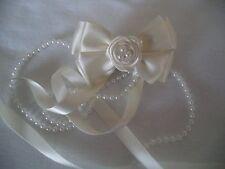 Belle, Communion, Ivoire/Crème, Rose Pearl Ribbon Bow Hair Clip