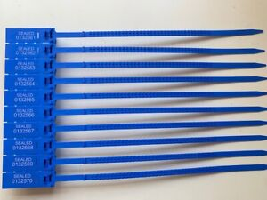 Blue Plastic Security Tags Numbered Pull Ties Secure Anti-Tamper Seals