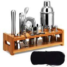 23Pcs Bartender Kit Cocktail Shaker Set Stainless Steel Bar Tools w/Bamboo Stand