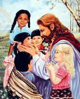 Jesus Christ with Children Religious Catholic Wall Decor Art Print Poster (8x10)