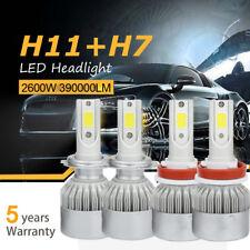 Combo H11 H7 LED Headlight Bulbs Kit High Low Beam Total 2600W 390000LM 6500K 4x
