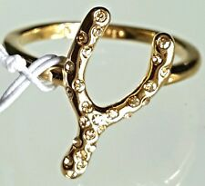 Coach Cocktail  Ring Wishbone Yellow Gold Plated Size 8 Swarovski Crystal USA