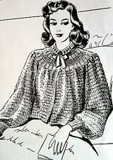 R2468 Vintage Design BEWITCHING BED JACKET Pattern to KNIT (reproduction) SML
