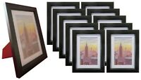 Frame Amo 5x7 Black Wood Picture Frame, Mat for 4x6, Glass Front, 1, 3, 10 PACK