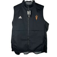 Adidas ASU Arizona GAME MODE COACHES VEST Mens Black Apparel Fleece Lined 2XL