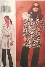 NEW VINTAGE 2000 'BUTTERICK' MAC/WRAP STYLE COAT AND BELT  PATTERN 6669  12-16