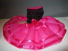Pet Bling Tutu Dress Pink Rose & Black Lace Dog Small Cats Dogs Clothes Small