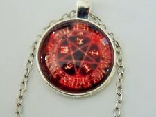 RED PENTACLE  Pentagram Pendant Symbols Necklace pagan wiccan silver plate chain