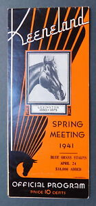 April 10, 1941 KEENELAND Program - PHOENIX HANDICAP - WHIRLAWAY Entered