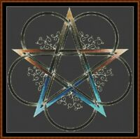 FLOWERED PENTAGRAM cross stitch pattern PDF (point de croix)
