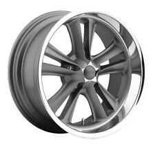 "CPP Foose F099 Knuckle Wheels Rims, 17x7 front + 17x8 rear, 5x4.75"", GRAY"