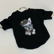 Pet Clothes Dog T Shirt Frech Bulldog Police Summer Costume Black