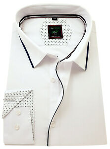 hu-0071 regular Huber caballero camisa de cuello alto blanco asia mao cuello made in UE
