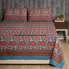 Indian Cotton Block Print Bed Sheets Blue Floral Bedcover Queen Multi Bedspreads