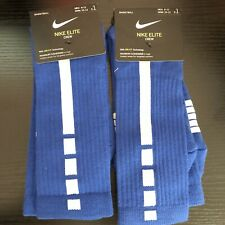 2 Pair Nike Elite Crew Dri-Fit Max Cushion Basketball Socks Royal Blue Men 8-12