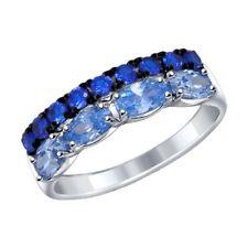 MIRKADA Damen 925 Sterling Silber Ring mit Topas und Zirkonia,blau, Gr. 52 * NEU