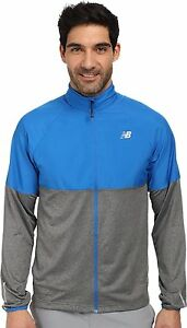 NWT New Balance Men's Speed Athletic Running Jacket  Laser Blue/Grey Size Medium