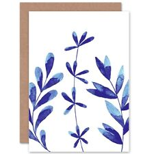 Sprigs Cobalt Blue Watercolour Blank Greeting Card With Envelope