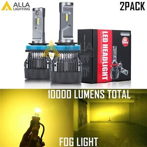 Alla Lighting H8 Gold YELLOW Driving Fog Light Lamp Bulb Led Foglights for cars
