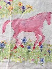 The Company Store Colored Horses Ponies Flowers FULL flat sheet Equestrian EUC