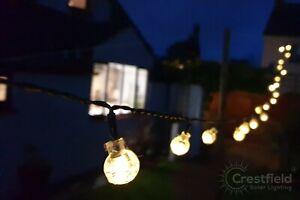 Solar String Lights Outdoor Garden LED Festoon Party 20 Bulb Set. Warm White.