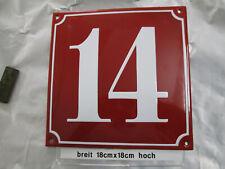 Hausnummer Emaille Nr 14 weiße Zahl roter Hintergrund 18 cm x 18 cm Baujahr 2020