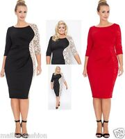 Gemma Collins Style Jersey Lace Dress Red or Black Midi Party TOWIE Size 16-24