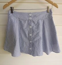 Wish Women's Blue & White Stripe Button-Up Skirt - Size 8