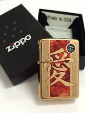 "Zippo ""Chinese Love"" High Polish Brass Windproof Lighter 28953 New In Box"