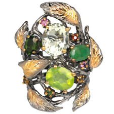 NATURAL AMETHYST PERIDOT EMERALD & CHROME DIOPSIDE STERLING 925 SILVER RING 7.75