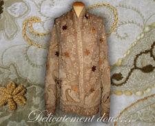 Beau Châle 100% laine motif cachemire brodé coloris beige - CH135