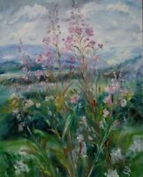 Rosebay Willowherb, Bishopdale,Wensleydale.CANVAS Impressionism.signed.DALES.