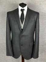 Next Mens Blazer Jacket Size 40R Grey Plaid check Windowpane Tailored Fit