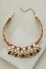 NWT $58 Anthropologie Leather Braided Blooms Collar Choker Necklace
