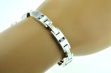 14k Solid White gold Mens Natural  Diamond & Sapphire Bracelet 28.00 Grams heavy