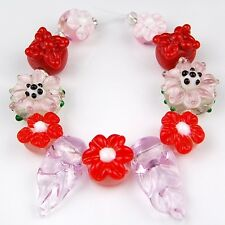 HANDMADE LAMPWORK GLASS BEADS Christmas Flower Loose Jewelry Making Craft Spacer