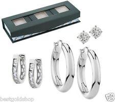 QVC Set of 3 Stud Hoop Huggie Earrings Gift Box Steel by Design J286560