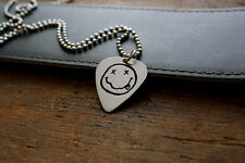 Handmade Etched Guitar Pick Necklace - Nirvana Smiley Face - Nickel Silver