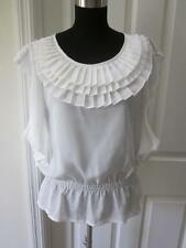 NWT Isabella Rodriguez Ivory Blouse Top w/ Tiered Ruffle Neckline Sz L