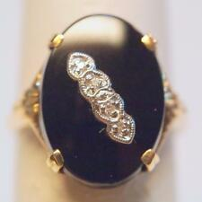 Vintage Black Onyx & Diamond Ring 10K Yellow Gold With Diagonal Accents Size 6